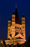 Great Saint Martin Basilica in Cologne. Great Saint Martin (Gross St Martin) Basilica at dusk (Cologne, Germany Stock Image
