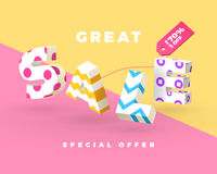 Great sale 3D sign. Fashion sale banner, 3D letters with pattern, vector illustration Royalty Free Stock Images