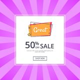 Great Sale 50 Off Shop Now Inscription with Star. S vector illustration in white frame isolated on purple. Template with text, good proposal Stock Photography
