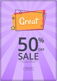 Great Sale Poster with 50 Percent Discount off Royalty Free Stock Image