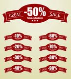 Great Sale tags with 10 - 90 percent text. This is file of EPS10 format Royalty Free Stock Photography