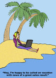 Great Sales Result on Vacation. Cartoon of businesswoman on beach vacation, receiving a call, I'm happy to be called on vacation with news of a great sales royalty free illustration