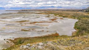 The Great Salt Lake landscape on a cloudy day stock photos