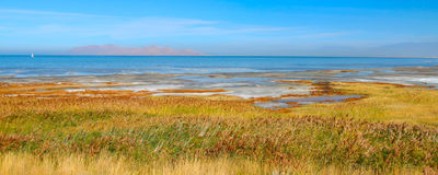 Great Salt Lake State Park. Panoramic landscape at Great Salt Lake State Park in northern Utah Stock Photo