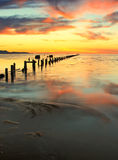 Great Salt Lake sunset  fence posts. Royalty Free Stock Photo