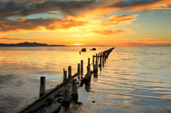 Great Salt Lake sunset pipeline. Royalty Free Stock Images