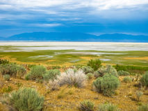 Great Salt Lake Utah. Aerial view of the dramatic landscape of the Great Salt Lake on Antelope Island State Park, also called land of Buffalo, Salt Lake, Utah Royalty Free Stock Photo