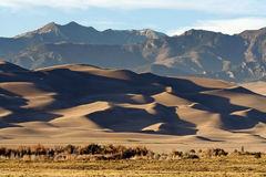 Great Sand Dunes National Park. Shadows on Great Sand Dunes National Park in Colorado. These are the tallest sand dunes in North America and nestle into the Royalty Free Stock Photo