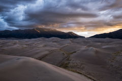 Great Sand Dunes National Park, Colorado, USA. Panoramic view of desert landscape in Great Sand Dunes National Park, Colorado, USA stock photography