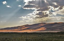 Great Sand Dunes National Park. Dunes stand as high as 750 feet at Great Sand Dunes National Park and Preserve just north of Alamosa, Colorado Stock Image