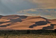 Great Sand Dunes National Park. Dunes stand as high as 750 feet at Great Sand Dunes National Park and Preserve just north of Alamosa, Colorado Stock Images