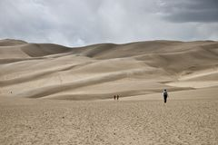 Free Great Sand Dunes National Park Lies South Of The US State Of Colorado. There Are Sand Dunes Up To 200 Meters High. Stock Photography - 132466902