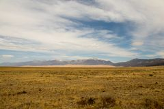 Magnificent colors of Great Sand Dunes National Park and Preserve, San Luis Valley, Colorado, United States stock photo