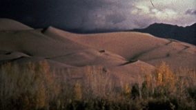 1972: Great Sand Dunes National Park showcases glowing sand. stock video footage