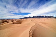 Great Sand Dunes National Park with snowy mountains Stock Photography