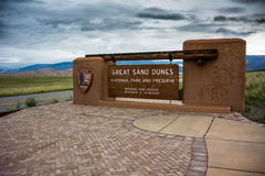 Great Sand Dunes  Sign Three Quarter view.dng Stock Photos
