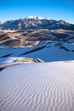 Great Sand Dunes in Snow. In Colorado, USA stock photo