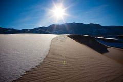 Great Sand Dunes in Snow. In Colorado, USA stock images