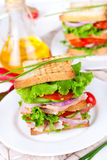 Great sandwich for breakfast Royalty Free Stock Images