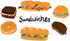Great Sandwich Set Royalty Free Stock Photos
