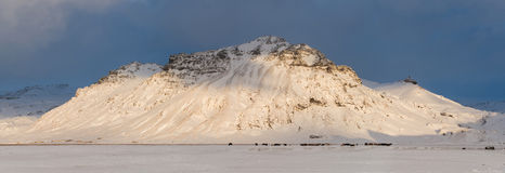 Great scenic snow-covered mountain in Iceland Royalty Free Stock Image