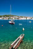 Great sea and boat in Mali Losinj. Croatia Vertical Royalty Free Stock Image