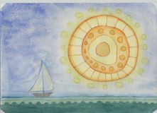 Great sea sunset. Children`s pencil drawing depicting a sunset on the sea with a large decorative sun and a small sailboat Stock Photos
