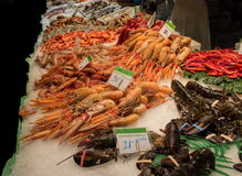 Great seafood on the Market in Barcelona Stock Images