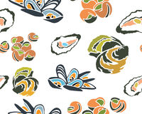Great Seafood Seamless Pattern Royalty Free Stock Photography