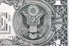 The Great Seal on back of one dollar bill stock photo