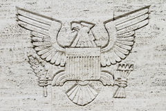 Great Seal Emblem. The American Great Seal engraved on a concrete wall Royalty Free Stock Photo