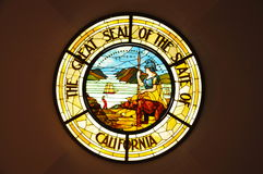 Great Seal of the State of California in Stained Glass Stock Photo