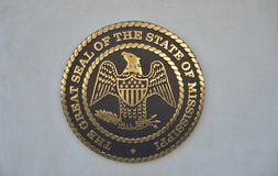 Mississippi Great Seal on Concrete. Great Seal of the State of Mississippi, Mississippi is a state in the Southern United States, with part of its southern stock photo