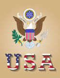 Great seal of United States of America- USA. National Emblem and Letters of United States of America Stock Photography