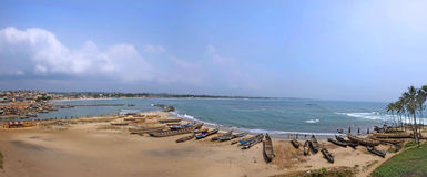 Great Seascape Panorama with Fishing Boat Parks Stock Images