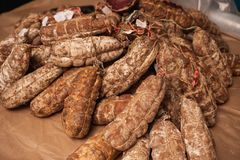 Great selection of salami . Photo taken in a street market. Stock Photography