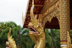 The Great Serpent in buddha temple Royalty Free Stock Photos
