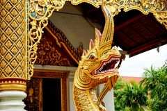 The Great Serpent in buddha temple Stock Photo