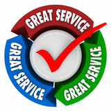 Great Service Customer Satisfaction Superior Quality Attention H. Great Service words on 3d arrows in a circle or feedback loop to illustrate great customer Royalty Free Stock Image