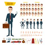 A great set for the animation of a businessman character on a white background. Animation of sounds, emotions, gestures of hands. stock images