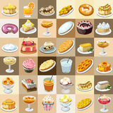 Great set of candies, cakes and other sweets Royalty Free Stock Image