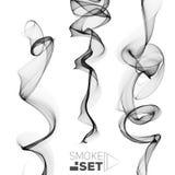 Great set of circle smoke black waves abstract background Royalty Free Stock Image