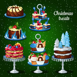 Great set of desserts for the Christmas holidays. Winter decor Stock Photos