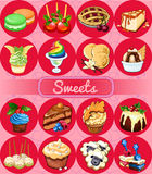 Great set of desserts, 16 delicious icons. Great set of desserts, delicious 16 vector icons Royalty Free Stock Photo