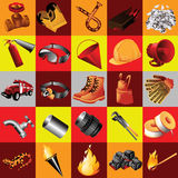 Great set of fire equipment, 25 elements Royalty Free Stock Image