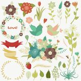 Great set of flowers, leaves, branches, wreaths, labels, hearts. Great set of flowers, leaves, branches, wreaths, labels, hearts, lovely birds, bouquets for vector illustration