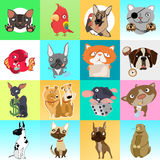 Great set of icons with different animals. 16 cartoon images Stock Photo