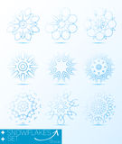 Great set of magic snowflakes winter object  Stock Image