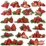 Great set of photographs of strawberries Royalty Free Stock Images