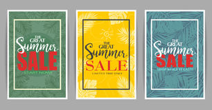 The Great Set of Summer Sale Posters Promotional Designs vector illustration